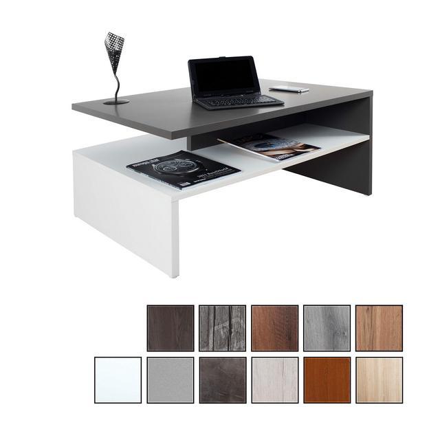 RICOO Tavolino Basso da Divano da Soggiorno Design WM080WA Tavolo da Salotto Giorno Mobile da Lavoro Moderno con Due PianiQuadrato Rettangolarein LegnoColore Grigio Antracite e Bianco