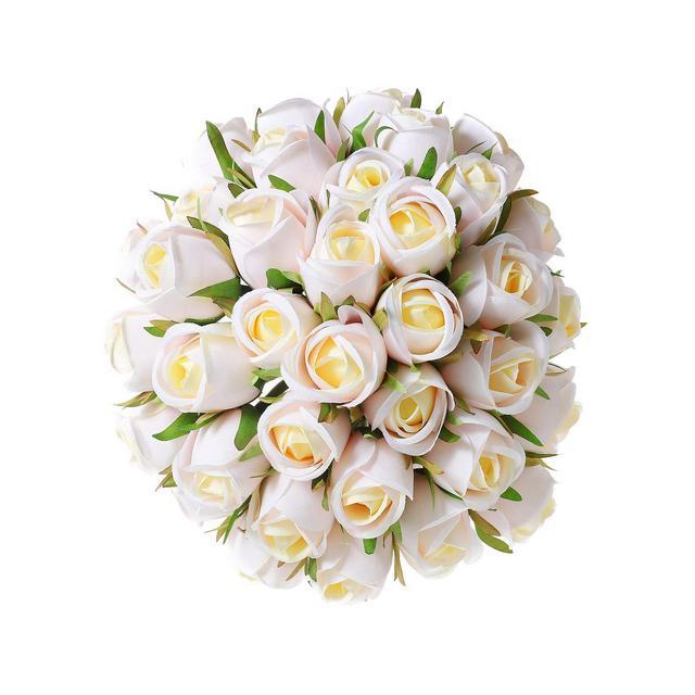 Rose Artificiali Fiori Artificialie Bouquet Seta Beige 36pcs per la Decorazione del Ristorante Hotel Albergo di Nozze