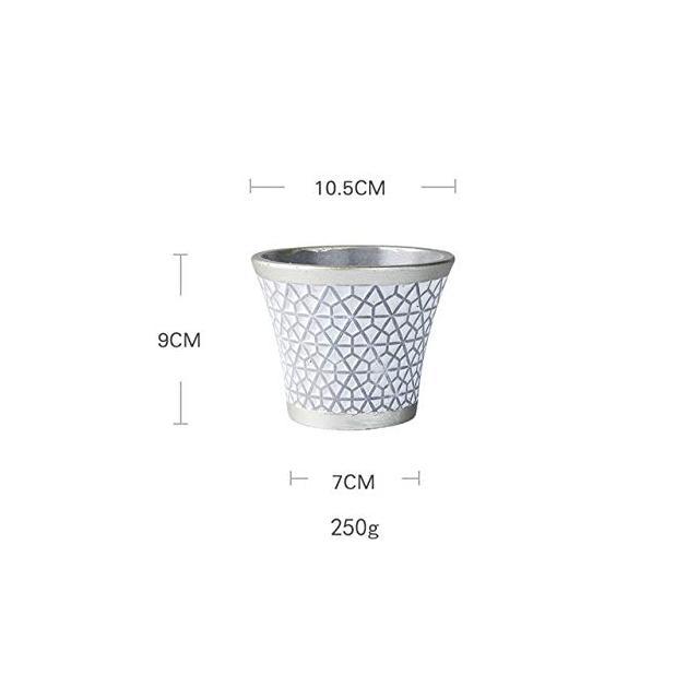 SONIRY Cemento Geometrica Decorazione Ceramica Telaio in Lega di Succulente Planter Pot Set in Alluminio per la casa della Decorazione per Il Desktop Bonsai Pots type01