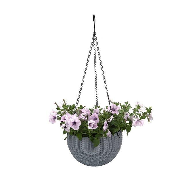 STARKWALL Plastica Rotonda Appeso Succulente Fioriera Maceta Bonsai Vasi Cesto Giardino Fiore Pot Plant Hanger con Drainer E Cate Grigio Scuro