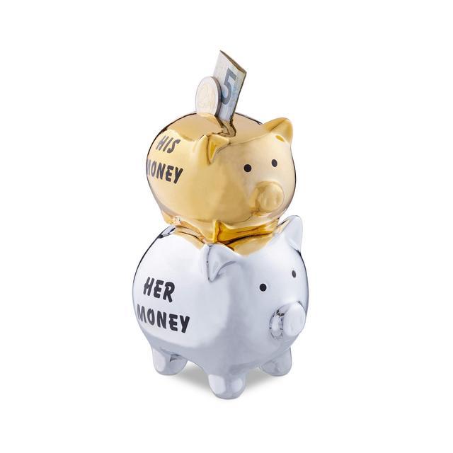 Salvadaio His & Her Money 2 Maialini Divertente Idea Regalo e Decorazione per Coppie e Matrimoni Ceramica ArgentoOro HxLxP 15 x 10 x 8 cm