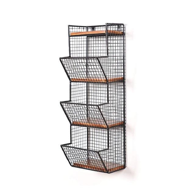 Scaffalature a Parete Multistrato Scaffale per deposito dormitorio Riviste a Parete Magazzino Rack per giorli 1116 Color Black Size 20 * 17 * 58cm