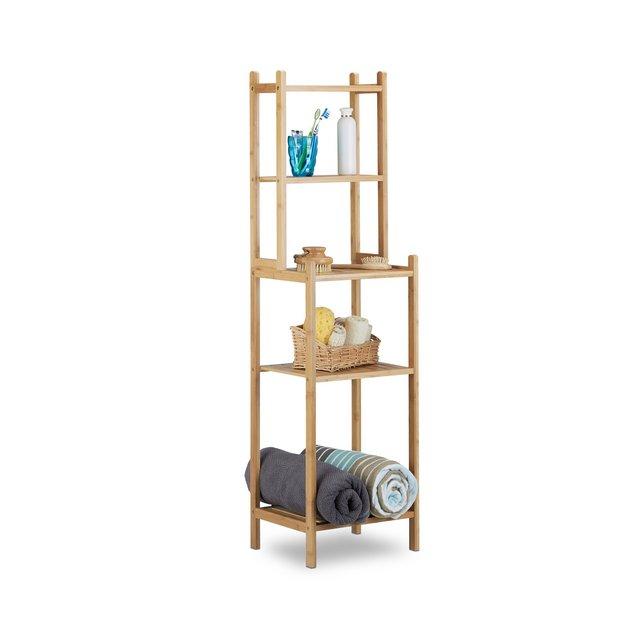 Scaffale Bagno in Bambù 5 Ripiani per cucina Corridoio Mobiletto Aperto HxLxP 121 x 33 x 28 cm Beige