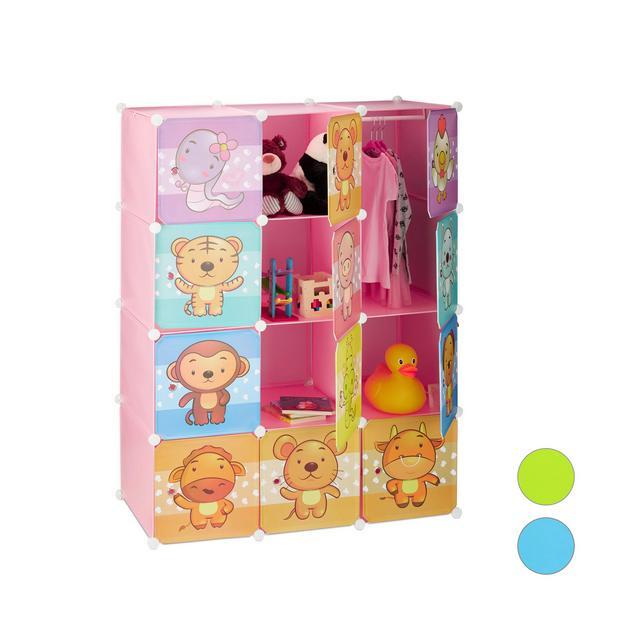Scaffale Componibile per la Cameretta dei Bambini Immagini Graziose di Animali Ante e Bastone Appendiabiti Rosa