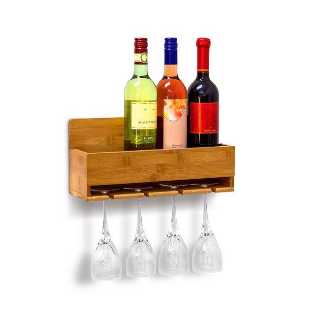 Scaffale Portabottiglie Vino con Porta Bicchieri Integrato per 4 Bottiglie e Portabicchieri 4 Posti Montaggio Parete H X B X T 17 X 37 X 115 cm turale marrone plastica