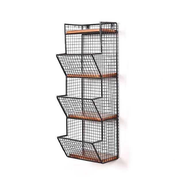 Scaffale a Muro in Metallo Semplice e Moderno Supporto di stoccaggio Creativo 1103 Color Black Size 275 * 17 * 58cm