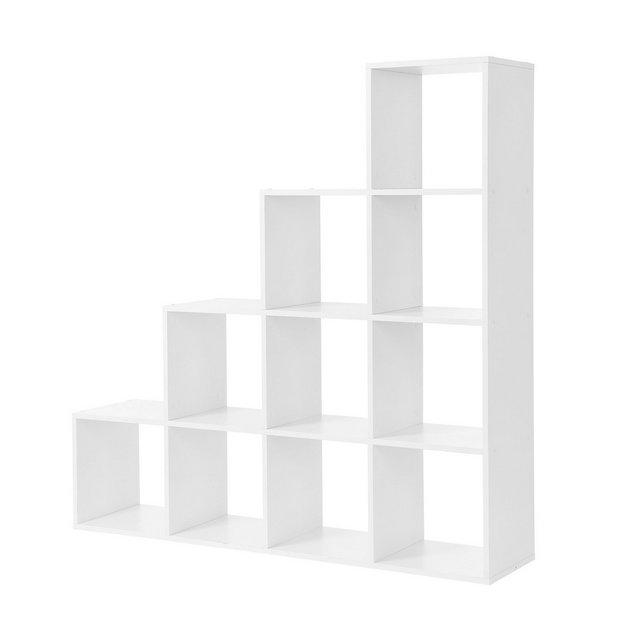 Scaffale a Scala Mobile Portaoggetti con 10 Cubi Armadio di Legno Scaffale Autoportante per Studio Soggiorno Camera da Letto Bianco