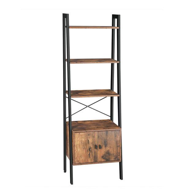 Scaffale a Scaletta Libreria a 4 Ripiani con Armadio Stabile Struttura in Ferro Portaoggetti per Soggiorno Studio Ufficio 56 x 34 x 173 cm Design Industriale Marrone Vintage
