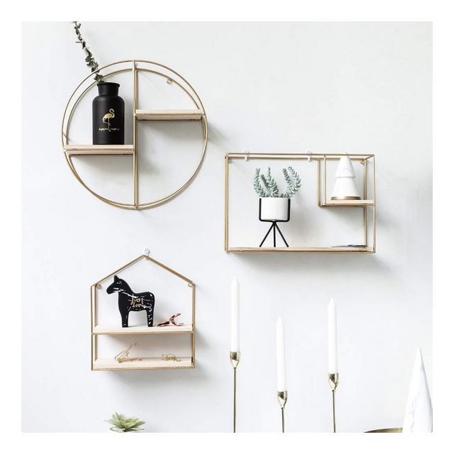Scaffale da Parete in Metallo Moderno Nordic Wind Floating Frame Camera da Letto Soggiorno per Il Tempo Libero Bar Decorazione Mensola 1104 Color D