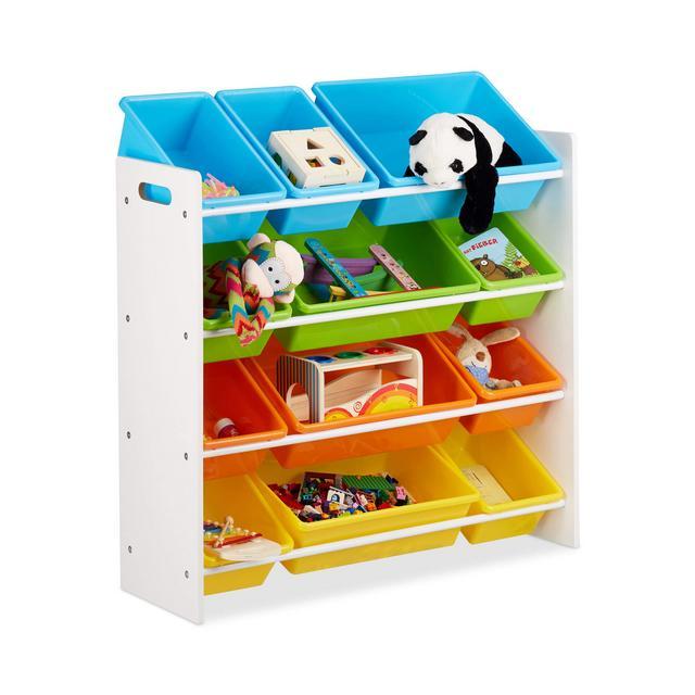 Scaffale per Bambini con Box PortaGiochi Contenitori Colorati per Giocattoli Legno MDF Multicolore 88x86x31 cm