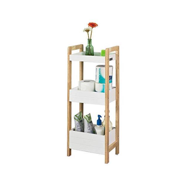 Scaffale salvaspazio e multifunziole per cucina o bagno con tre ripiani