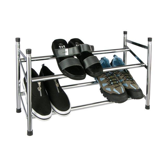 Scarpiera a due ripiani estensibile fino a 12 paia di scarpe modulabile e robusta