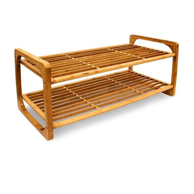 Scarpiera scaffale in bambù 75 cm x 33 cm x 33 cm 2 Ripiani