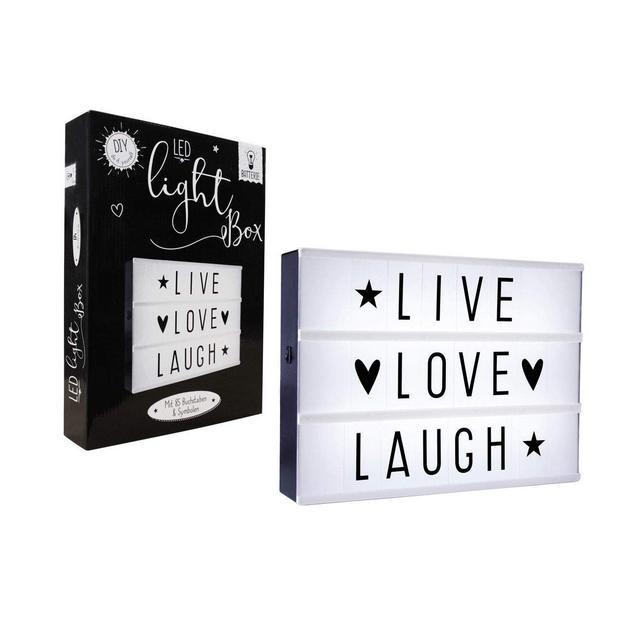 Scatola Luminosa a LED 85 Lettere intercambiabili per Scrivere messaggi Lampada Decorativa con Simboli Cinemaluce con Luce Bianca