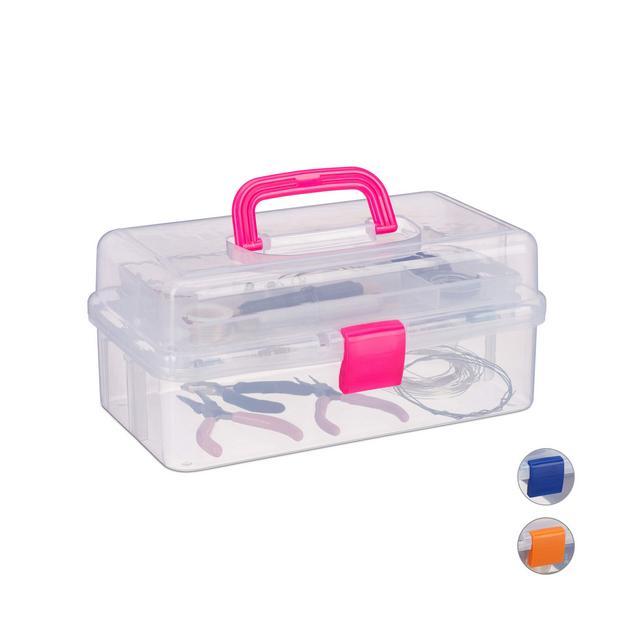 Scatola Trasparente Plastica 9 Scomparti per Oggetti Piccoli Maniglia per Trasporto Chiusura A Scatto HBT 14x33x19 cm Rosa