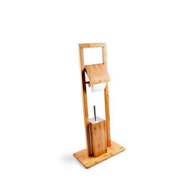 Scopino per WC e Porta Rotolo Legno Marrone 36x21x82 cm