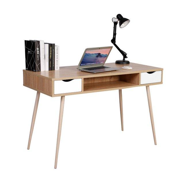 Scrivania Tavolo da Studio PC Computer con 2 Cassetti Ufficio Tavolino Scaffale Moderno in Legno