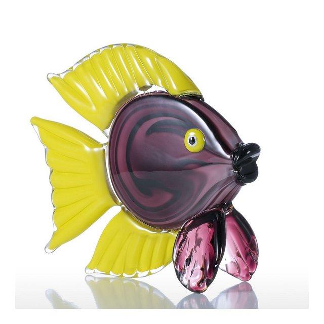 Scultura Giallo Tropical Pesce in Vetro Colorato Animal Regalo Decorazione del Mestiere Ormento