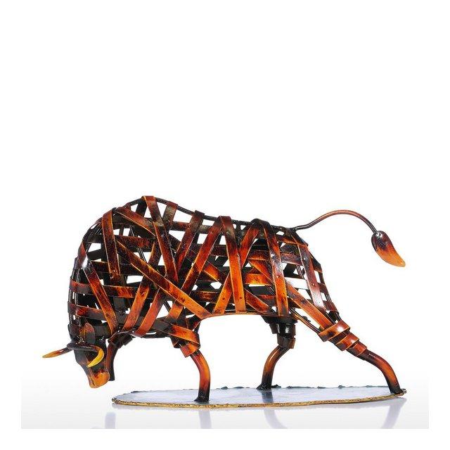 Scultura Moder Animali Ferro Rosso Tessitura Bestiame Dono Tecnologia di Statuetta Arte Moder Home Decor