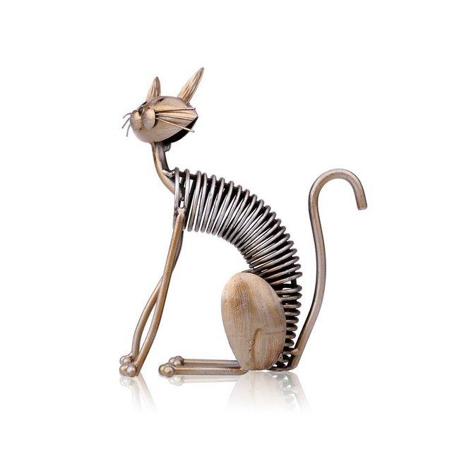 Scultura in Metallo Arte del Ferro Cat Spring Prende un Gatto Artigiato Crafting Decorazioni Fornire Domestico Ormenti