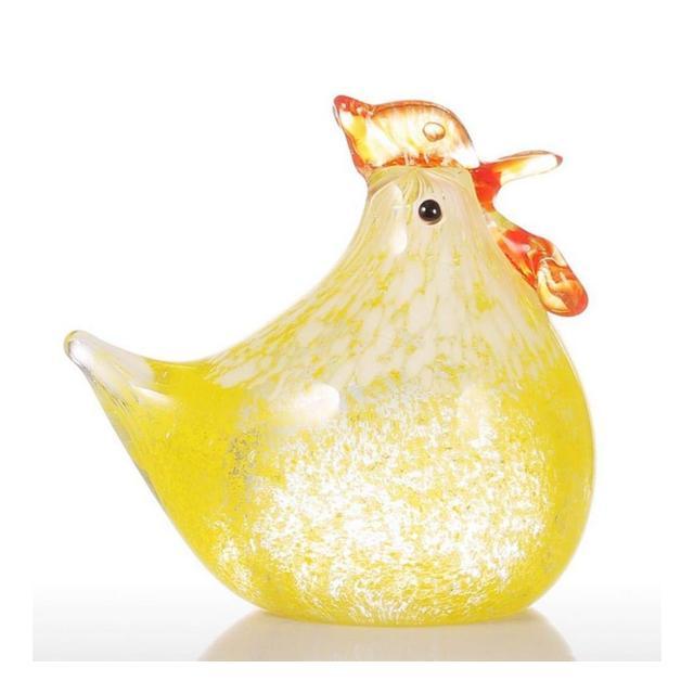 Scultura in Vetro Piccolo PolloGallo 3 Colori Opziole Decorazioni per la casa Ormento Fatto a Mano Regalo Animali Artigiali vt5 Giallo