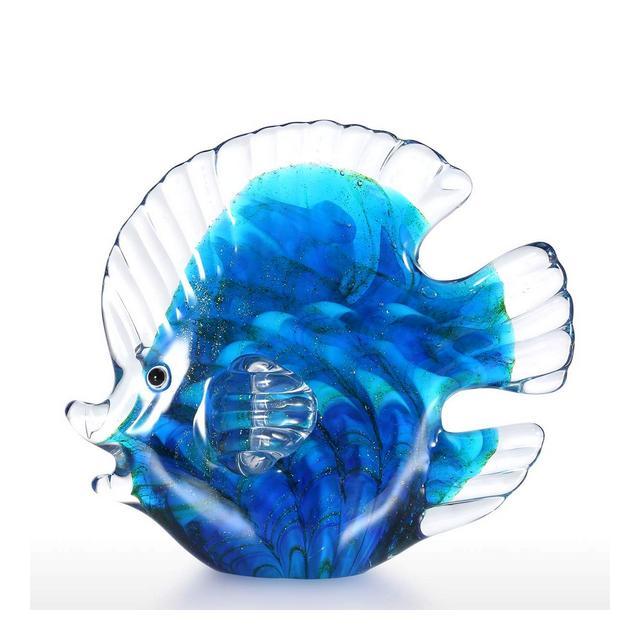 Scultura in Vetro di Forma Pesci Tropicali Colore Blu 13cm
