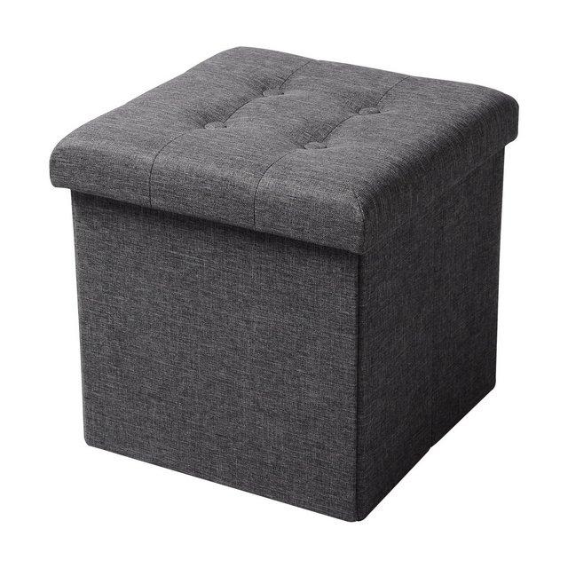 Sedia a Cubo Pieghevole Pouf Cassapanca Poggiapiedi Panche Contenitore con Coperchio Rimovibile MDF Oxford Lino Grigio Scuro