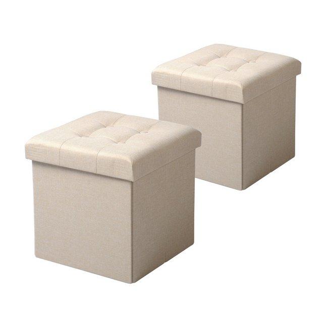 Sedia a Cubo Pouf Sgabello Pieghevole Cassapanca Contenitore Poggiapiedi in MDF Oxford Lino Crema 2 Pz