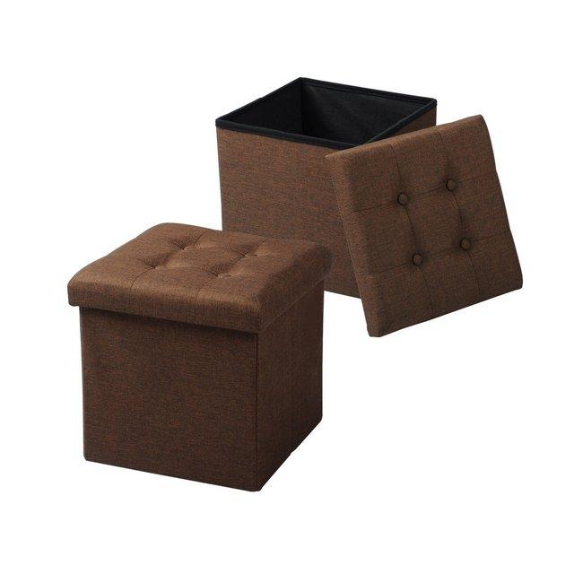 Sedia a Cubo Pouf Sgabello Pieghevole Cassapanca Contenitore Poggiapiedi in MDF Oxford Lino Marrone 2 Pz