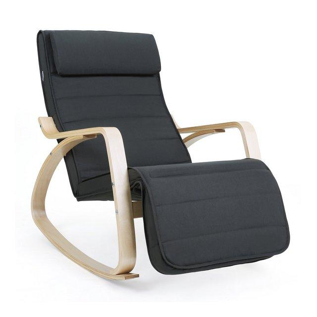 Sedia a Dondolo Poltro Relax con Poggia Gambe di Angolo Regolabile a 5 Gradi Carico Massimo 150 kg