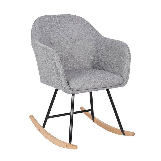 Sedia a Dondolo Poltro Relax con Schiele Braccioli in Tessuto di Lino Grigio Chiaro
