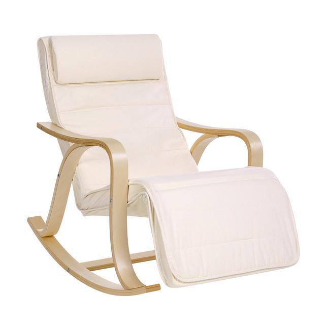 Sedia a Dondolo con Poggiagambe Poltro Oscillante Sedia a Sdraio Struttura in Legno di Betulla Fodera in Cotone