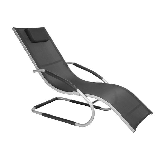 Sedia a Sdraio Relax Lettino Traspirante con Braccioli e Poggiatesta Tubo in Alluminio da Giardino Campeggio Balcone Nero