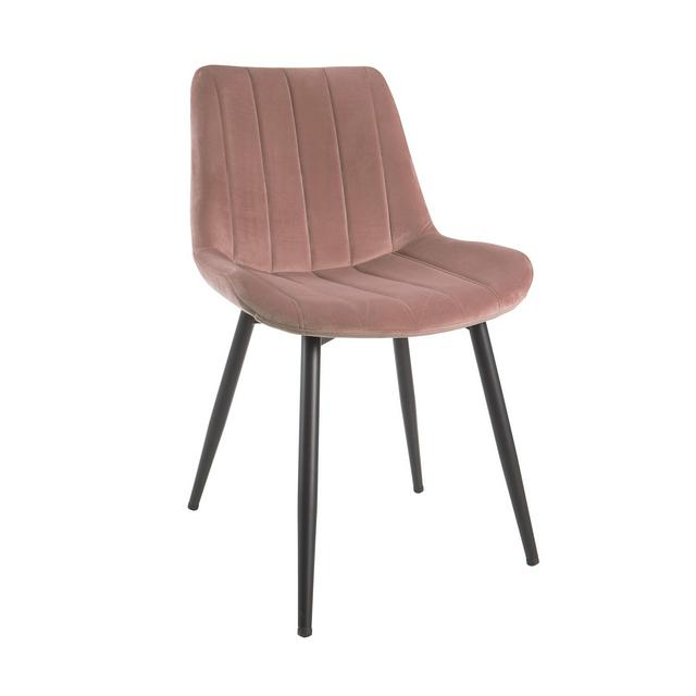 Sedia in Velluto con Gambe in Metallo Nere 515X58X82 cm Rosa