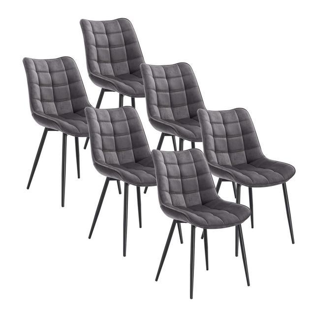 Sedie Sala da Pranzo Design retrò Sgabello Imbottito con Rivestimento in Velluto Grigio Scuro 6 Pezzi