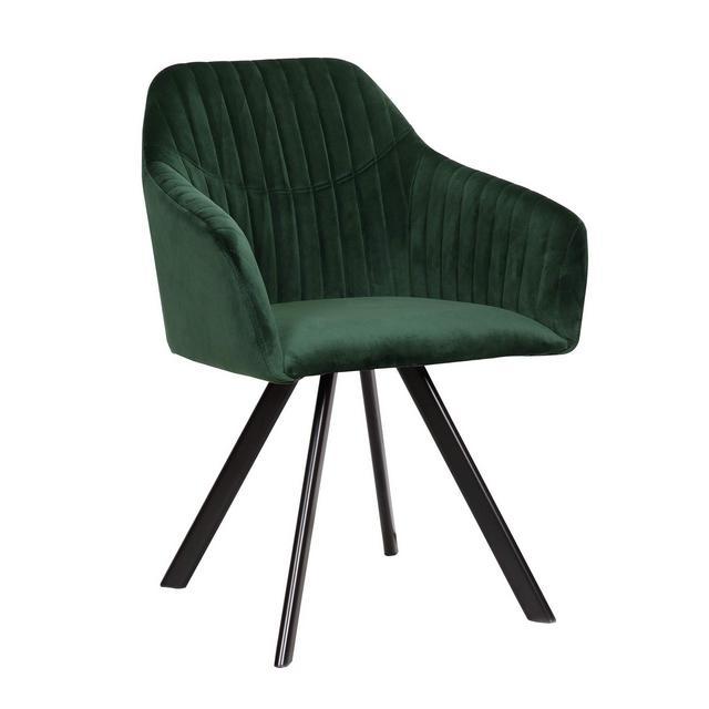 Sedie Sala da Pranzo Moderno Elegante con Braccioli Poltro in Velluto Gambe in Metallo Verde