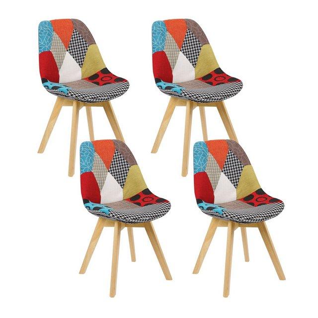 Sedie da Pranzo Sgabello con Schiele in Stoffa Lino Sedie per cucina Moderno Patchwork 4 Pezzi