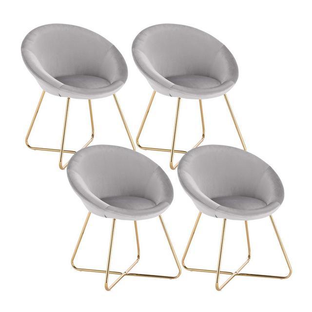 Sedie da Sala da Pranzo Poltrone in Velluto per cucina Soggiorno con Schiele Braccioli 4 Pezzi Grigio Chiaro