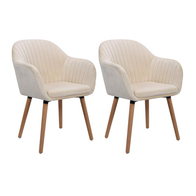 Sedie per Sala da Pranzo Camera Sedia da Scrivania Poltronci Estetica in Velluto Morbido Crema 2 Pezzi