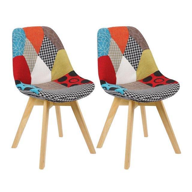 Sedie per Sala da Pranzo Sedia da Scrivania con Schiele Rivestito in Tessuto di Lino Patchwork Gambe Legno Moderno 2 Pezzi