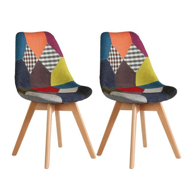 Sedie per Sala da Pranzo Sedia da Scrivania con Schiele Rivestito in Tessuto di Lino Patchwork Multicolore Robuste Gambe in Legno