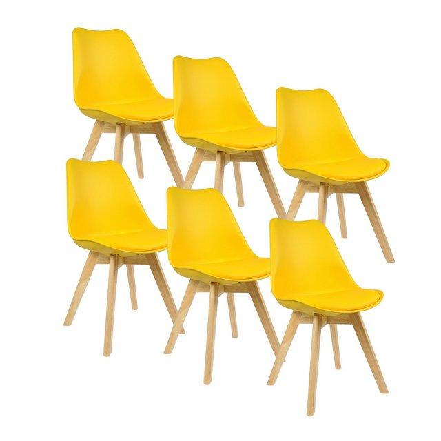 Sedie per Sala da Pranzo Soggiorno con Schiele Plastica Similpelle Legno Giallo 6 Pezzi