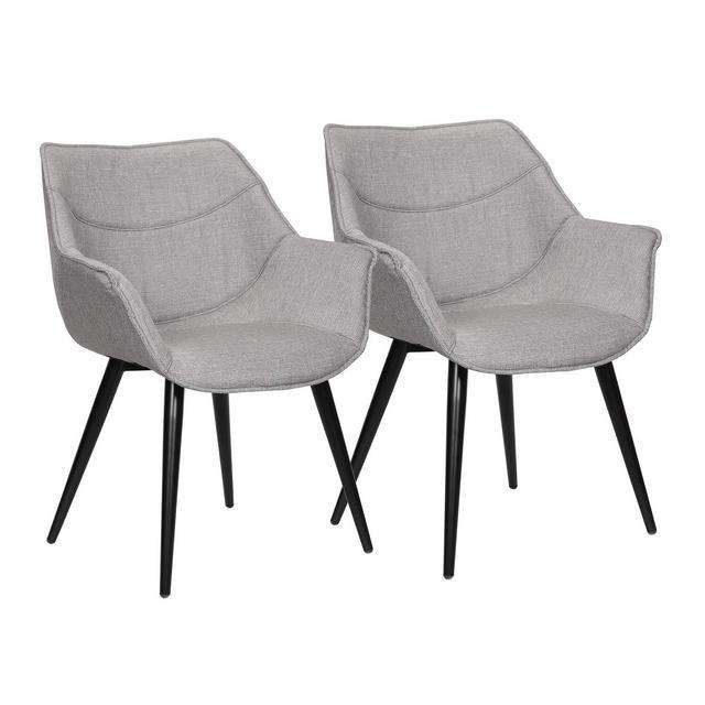 Sedie per Sala da Pranzo con Braccioli Poltro Imbottita in Tessuto di Lino Gambe in Metallo Grigio