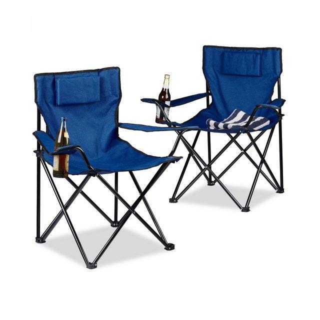 Set 2 pz sedie da Campeggio con Schiele Imbottito portabevande Pieghevole HxLxP 82x78x50 cm Diversi Colori