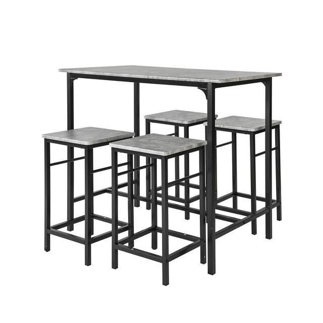 Set 5 pezzi Tavolo con 4 sgabelli Mobile bar per casa stile industriale grigio