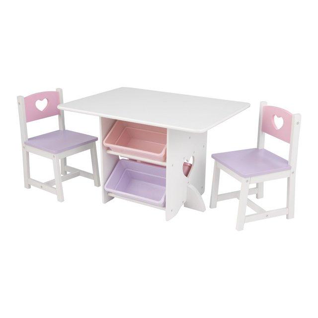 Set Tavolo con 2 Sedie Cuore in Legno con Contenitori per Bambini BiancoPastello