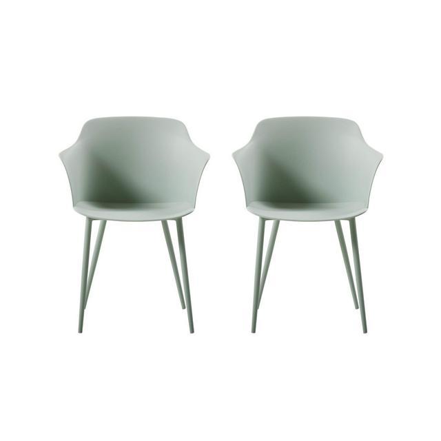 Set da Due Pezzi Sedia Coro Colore Verde in Metallo e Polipropilene Mobile Arredo Design Casa per Ufficio Soggiorno Sala da Pranzo cucina Camera da Letto