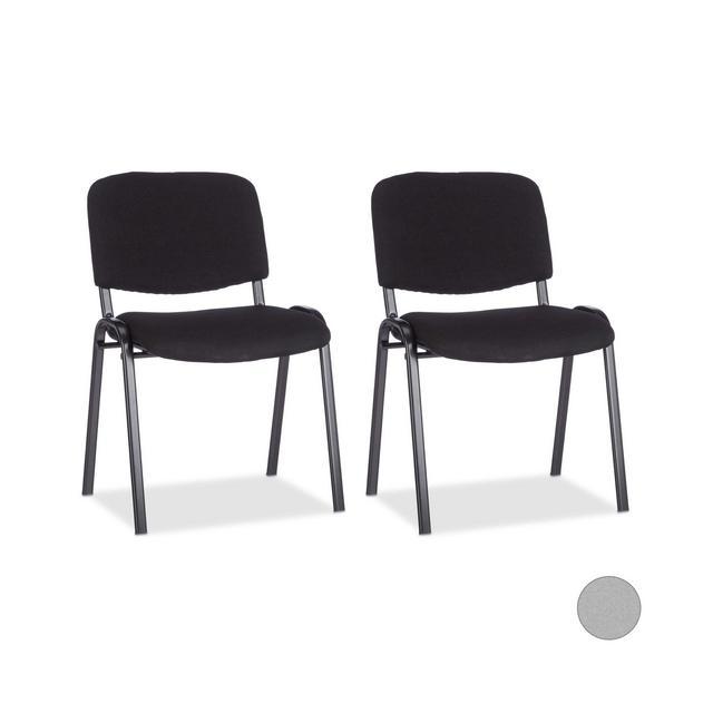Set di 2 Sedie Impilabili per Ospiti Poltro Imbottita per Sala Conferenze HxLxP 74 x 54 x 49 cm Nero