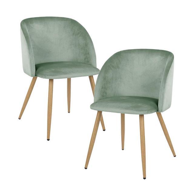 Set di 2 Sedie da Pranzo in Velluto Vintage Poltro ScandiveSeduta e Schiele ImbottitiGambe in Metallo Stile LegnoVerde Agua