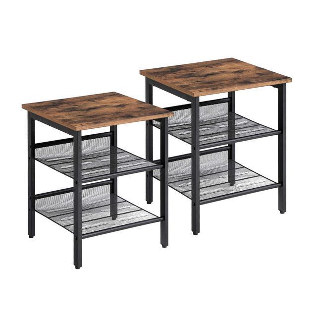 Set di 2 Tavolini a Lato Divano in Stile Industriale con 2 Ripiani a Rete in Ferro per Soggiorno Camera da Letto